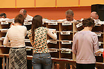 Count officials sorting out the ballot papers in the Meath West Count in Navan...Photo NEWSFILE/Jenny Matthews.(Photo credit should read Jenny Matthews/NEWSFILE)....This Picture has been sent you under the condtions enclosed by:.Newsfile Ltd..The Studio,.Millmount Abbey,.Drogheda,.Co Meath..Ireland..Tel: +353(0)41-9871240.Fax: +353(0)41-9871260.GSM: +353(0)86-2500958.email: pictures@newsfile.ie.www.newsfile.ie.FTP: 193.120.102.198.