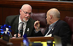 Nevada Assembly Republicans Randy Kirner, left, and Jim Wheeler work on the Assembly floor at the Legislative Building in Carson City, Nev., on Sunday, June 2, 2013. <br /> Photo by Cathleen Allison