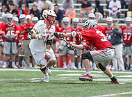 College Park, MD - April 22, 2018: Maryland Terrapins Connor Kelly (1) is pushed by an Ohio State Buckeyes defender during game between Ohio St. and Maryland at  Capital One Field at Maryland Stadium in College Park, MD.  (Photo by Elliott Brown/Media Images International)