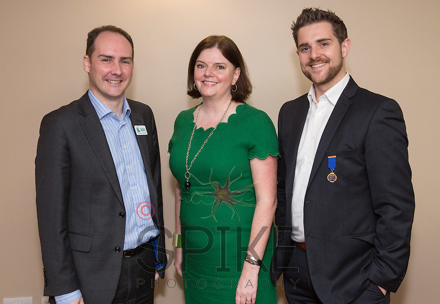 Pictured from left are James Simmonds of UHY Hacker Young, Keynote Speaker Stephanie Sirr of the Nottingham Playhouse and Past President Jonathan English of Skeleton Productions