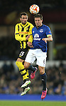 Scott Sutter of BSC Young Boys tussles with Phil Jagielka of Everton - UEFA Europa League Round of 32 Second Leg - Everton vs Young Boys - Goodison Park Stadium - Liverpool - England - 26th February 2015 - Picture Simon Bellis/Sportimage
