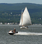 The scene on the Hudson River during  the 2012 Clearwater Festival at Croton Point Park on Saturday, June 16, 2012. Photograph taken by Jim Peppler. Copyright Jim Peppler/2012
