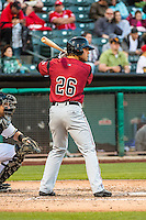 Brett Jackson (26) of the Sacramento River Cats at bat against the Salt Lake Bees in Pacific Coast League action at Smith's Ballpark on April 17, 2015 in Salt Lake City, Utah.  (Stephen Smith/Four Seam Images)