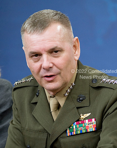 United States Marine General James E. Cartwright, Jr., Vice Chairman of the Joint Chiefs of Staff, answers questions from the press following Defense Secretary Robert M. Gates' press conference at the Pentagon, August 9, 2010.  Cartwright is a target of a Justice Department investigation into a leak of information about a covert U.S.-Israeli cyberattack on Iran&rsquo;s nuclear program.<br /> Mandatory Credit: Cherie Cullen / DoD via CNP
