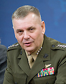 United States Marine General James E. Cartwright, Jr., Vice Chairman of the Joint Chiefs of Staff, answers questions from the press following Defense Secretary Robert M. Gates' press conference at the Pentagon, August 9, 2010.  Cartwright is a target of a Justice Department investigation into a leak of information about a covert U.S.-Israeli cyberattack on Iran's nuclear program.<br /> Mandatory Credit: Cherie Cullen / DoD via CNP