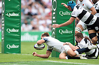Piers Francis of England reaches for the try-line. Quilter Cup International match between England and the Barbarians on May 27, 2018 at Twickenham Stadium in London, England. Photo by: Patrick Khachfe / Onside Images