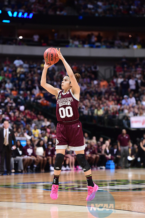 DALLAS, TX - MARCH 31:  Dominique Dillingham #00 of the Mississippi State Lady Bulldogs shoots during the 2017 Women's Final Four at American Airlines Center on March 31, 2017 in Dallas, Texas. (Photo by Justin Tafoya/NCAA Photos via Getty Images)