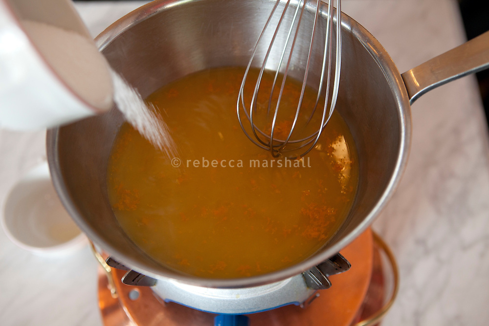 Preparation of crêpe suzette at Bouchon restaurant, Monaco, 23 March 2012.