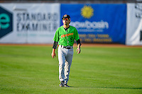 J.J. Franco (5) of the Great Falls Voyagers walks onto the field before the game against the Ogden Raptors in Pioneer League action at Lindquist Field on August 18, 2016 in Ogden, Utah. Ogden defeated Great Falls 10-6. (Stephen Smith/Four Seam Images)
