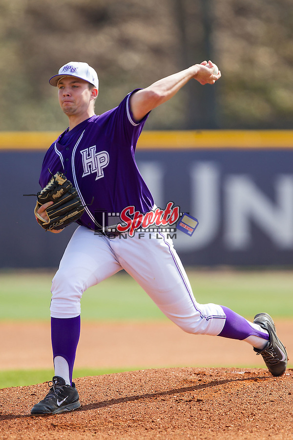 High Point Panthers starting pitcher Mike Krumm (20) in action against the Coastal Carolina Chanticleers at Willard Stadium on March 15, 2014 in High Point, North Carolina.  The Chanticleers defeated the Panthers 1-0 in the first game of a double-header.  (Brian Westerholt/Sports On Film)