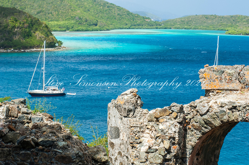 View of Leinster Bay from the Ruins at Windy Hill<br /> Virgin Islands National Park<br /> St. John, U.S. Virgin Islands