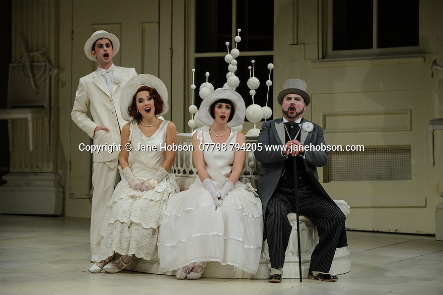 London UK. 19.11.2015. English National Opera presents THE MIKADO, by Arthur Sullivan & W. S. Gilbert, directed by Jonathan Miller, at the London Coliseum. Picture shows: Anthony Gregory (Nanki-Poo), Mary Bevan (Yum-Yum), Rachael Lloyd (Pitti-Sing), Graeme Danby (Pooh-Bah). Photograph © Jane Hobson.