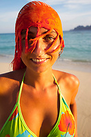 Young woman portrait, Long beach, Phi Phi Don island, Krabi Province, Andaman Sea, Thailand