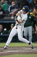 Michigan Wolverines outfielder Miles Lewis (3) swings the bat against the Michigan State Spartans during the NCAA baseball game on April 18, 2017 at Ray Fisher Stadium in Ann Arbor, Michigan. Michigan defeated Michigan State 12-4. (Andrew Woolley/Four Seam Images)