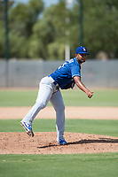 Los Angeles Dodgers relief pitcher Aldry Acosta (21) follows through on his delivery during an Instructional League game against the Milwaukee Brewers at Maryvale Baseball Park on September 24, 2018 in Phoenix, Arizona. (Zachary Lucy/Four Seam Images)