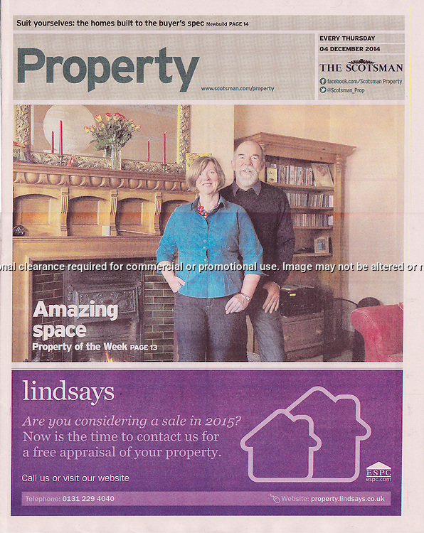 The Scotsman, Property Supplement,  front page.<br /> <br /> Image by: Malcolm McCurrach<br /> Thu, 4, December, 2014 |  &copy; Malcolm McCurrach 2014 |  Insertion and use fees apply |  All rights Reserved. picturedesk@nwimages.co.uk | www.nwimages.co.uk | 07743 719366