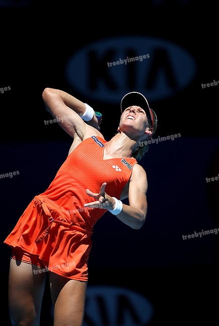 Elena Dementieva (RUS) in action against Carla Suarez Navarro (ESP)  on day 10 of the Australian Open Tennis , 28-1-09