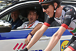 Dan Martin (IRL) UAE Team Emirates chats with the Quick-Step Floors boys during the 104th edition of La Doyenne, Liege-Bastogne-Liege 2018 running 258.5km from Liege to Ans, Belgium. 22nd April 2018.<br /> Picture: ASO/Karen Edwards | Cyclefile<br /> <br /> <br /> All photos usage must carry mandatory copyright credit (&copy; Cyclefile | ASO/Karen Edwards)