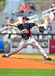 2 March 2010: Atlanta Braves relief pitcher Kris Medlen in action against the New York Mets during the Opening Day of Grapefruit League play at Tradition Field in Port St. Lucie, Florida. The Mets defeated the Braves 4-2 in Spring Training action. Mandatory Credit: Ed Wolfstein Photo