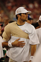 Aug. 31, 2006; Glendale, AZ, USA; Arizona Cardinals quarterback (7) Matt Leinart on the sidelines during the game against the Denver Broncos at Cardinals Stadium in Glendale, AZ. Mandatory Credit: Mark J. Rebilas