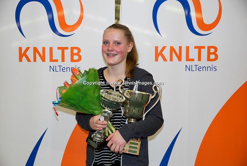 March 8, 2015, Netherlands, Rotterdam, TC Victoria, NOJK, Winner girls 16 years Suzan Lamens <br /> Photo: Tennisimages/Henk Koster