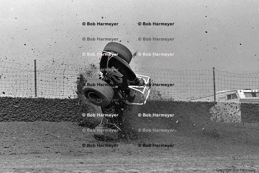 Frame #2 of Gary Bettenhausen's crash during a 1977 USAC race at Eldora Speedway near Rossburg, Ohio.