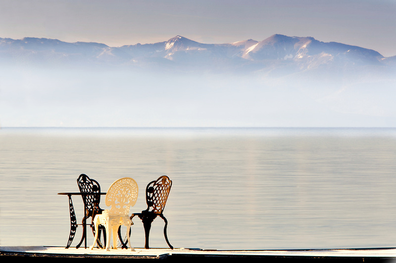 Table and chairs on Lake Tahoe. California