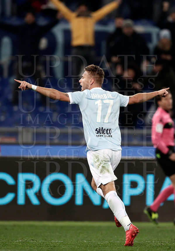 Calcio, Serie A: SS Lazio vs Hellas Verona, Roma, stadio Olimpico, 19 febbraio 2018.<br /> Lazio's Ciro Immobile celebrates after scoring his second goal in the match during the Italian Serie A football match between SS Lazio and Hellas Verona at Rome's Olympic stadium, February 19, 2018.<br /> UPDATE IMAGES PRESS/Isabella Bonotto