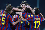 Barcelona's Zlatan Ibrahimovic celebrates with Carles Puyol, Pedro Rodriguez and other players during Champions League match. 17, 2010. (ALTERPHOTOS/Tati Quinones)