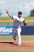 Peoria Javelinas relief pitcher Brandon Lawson (47), of the Tampa Bay Rays organization, delivers a pitch during an Arizona Fall League game against the Glendale Desert Dogs at Peoria Sports Complex on October 22, 2018 in Peoria, Arizona. Glendale defeated Peoria 6-2. (Zachary Lucy/Four Seam Images)