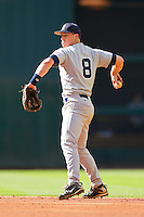 Second baseman Michael Ratterree #8 of the Rice Owls makes a throw to first base against the Baylor Bears at Minute Maid Park on March 6, 2011 in Houston, Texas.  Photo by Brian Westerholt / Four Seam Images