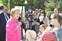 September 2, 2012 - Laval (Quebec) CANADA - PQ (Parti Quebcois) Leader Pauline Marois campaigning in Laval before the September 4th election.  She won and became the first woman to be Quebec Premier.<br /> <br /> FRENCH CAPTION BELOW :<br /> <br /> Pauline Marois, chef du PQ en campagne a Laval avant les electiondu 4 septembre qu'elle a remportees devenant la premiere femme Premiere Ministre du Quebec.
