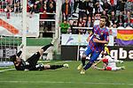 Rayo Vallecano´s goalkeeper Cristian Dario Alvarez and Levante UD´s Victor Casadesus Castano score a goal during 2014-15 La Liga match between Rayo Vallecano and Levante UD at Vallecas stadium in Madrid, Spain. February 28, 2015. (ALTERPHOTOS/Luis Fernandez)