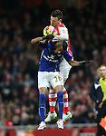 Arsenal's Lauren Koscielny catches Riyad Mahrez of Leicester with his elbow<br /> <br /> Barclays Premier League- Arsenal vs Leicester City  - Emirates Stadium - England - 10th February 2015 - Picture David Klein/Sportimage