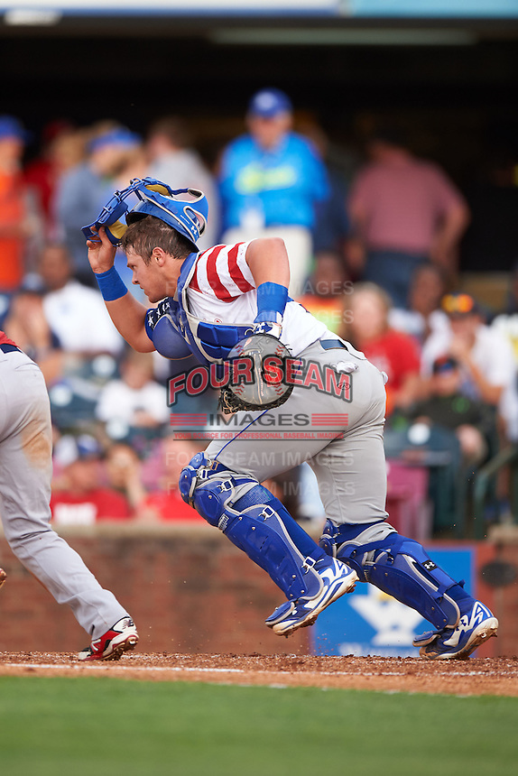 Lexington Legends catcher Chase Vallot (15) during a game against the Hagerstown Suns on May 22, 2015 at Whitaker Bank Ballpark in Lexington, Kentucky.  Lexington defeated Hagerstown 5-1.  (Mike Janes/Four Seam Images)