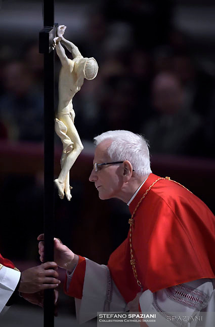 Cardinal Raffaele Farina,Pope Francis the ceremony of the Good Friday Passion of the Lord Mass in Saint Peter's Basilica at the Vatican.March 30, 2018