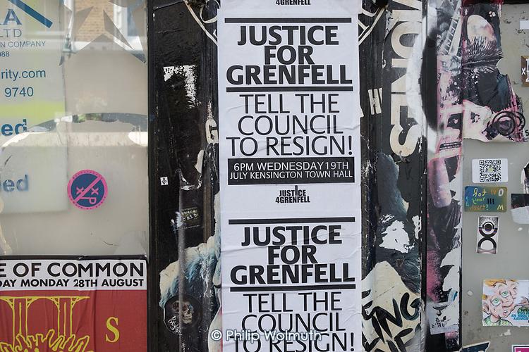 Justice for Grenfell posters, Portobello Road, North Kensington, London.