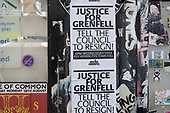 Justice for Grenfell posters, Portobello Road, North Kensington, London.