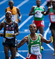 23 AUG 2009 - BERLIN, GER - Kenenisa Bekele (ETH) celebrates his victory in the Mens 5000m Final at the World Athletics Championships (PHOTO (C) NIGEL FARROW)