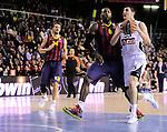 BARCELONA, SPAIN, BALONCESTO   29/11/2013<br /> Partido de Euroleague entre el Barcelona y el Fenerbahce  <br /> <br /> En imagen Joey Dorsey y Emir Preldzic  . FOTOS PEP DALMAU