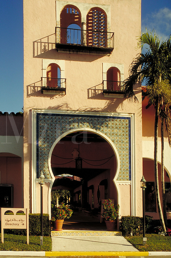 Royal Palm (shopping) Plaza in Boca Raton, Florida. It was planned by pioneer architect Addison Mizner in the '20s but only recently built. Resorts, ornamental architecture, Moorish influence. Florida, Royal Palm Plaza.