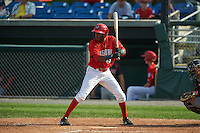 Auburn Doubledays outfielder Darryl Florentino (45) at bat during a game against the Batavia Muckdogs on September 7, 2015 at Falcon Park in Auburn, New York.  Auburn defeated Batavia 11-10 in ten innings.  (Mike Janes/Four Seam Images)