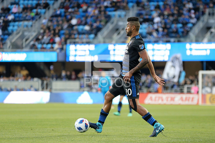 San Jose, CA - Saturday May 05, 2018: Anibal Godoy during a Major League Soccer (MLS) match between the San Jose Earthquakes and the Portland Timbers at Avaya Stadium.