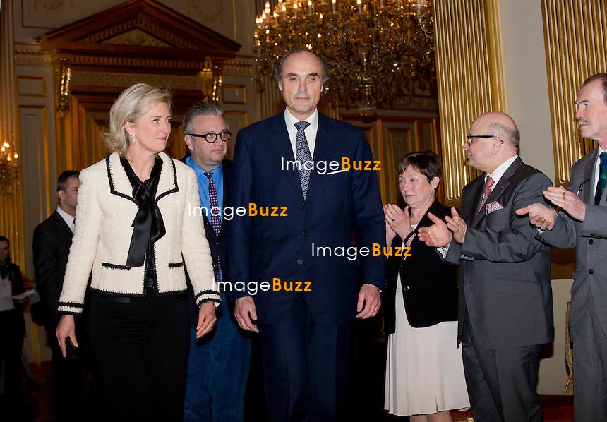 Le roi Philippe a pr&eacute;sente ses v&oelig;ux de nouvel an aux corps constitu&eacute;s (le monde politique, &eacute;conomique, acad&eacute;mique, juridique, etc.), en pr&eacute;sence de la reine Mathilde de Belgique, de la princesse Astrid, du prince Lorenz et du prince Laurent de Belgique, au Palais Royal de Bruxelles.<br /> Belgique, Bruxelles, 29/01/2014.<br /> PIC :, Princess Astrid of Belgium, Prince Lorenz of Belgium<br /> <br /> King Philippe of Belgium, Queen Mathilde of Belgium,   Princess Astrid of Belgium, Prince Lorenz of Belgium, Prince Laurent of Belgium at a New Year's reception organized by the Belgian Royal Family for the prominent Authorities and Personalities, at the Royal Palace, in Brussels,  Belgium, January 29,  2014.