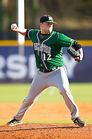 Manhattan Jaspers starting pitcher John Soldinger #12 makes a pick-off throw to first base against the High Point Panthers at Willard Stadium on March 9, 2012 in High Point, North Carolina.  The Panthers defeated the Jaspers 11-6.  (Brian Westerholt/Four Seam Images)
