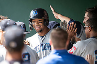 Lake County Captains outfielder Will Benson (29) is greeted in the dugout by teammates after hitting a home run against the South Bend Cubs on May 30, 2019 at Four Winds Field in South Bend, Indiana. The Captains defeated the Cubs 5-1.  (Andrew Woolley/Four Seam Images)