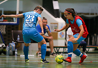 20190915– HALLE , BELGIUM : FP Halle-Gooik Girls A player Roxanne Hensmans and FP Halle-Gooik B player are pictured during the Belgian Women's Futsal D1 match between FP Halle-Gooik A and FP Halle-Gooik B on Sunday 15th 2019 at the De Bres Sport Complex in Halle, Belgium. PHOTO SPORTPIX.BE | Sevil Oktem