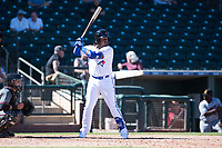 Surprise Saguaros third baseman Vladimir Guerrero Jr. (27), of the Toronto Blue Jays organization, at bat during an Arizona Fall League game against the Salt River Rafters on October 9, 2018 at Surprise Stadium in Surprise, Arizona. The Rafters defeated the Saguaros 10-8. (Zachary Lucy/Four Seam Images)