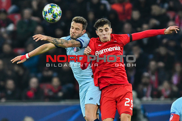 06.11.2019, BayArena, Leverkusen, GER, CL, Bayer 04 Leverkusen vs Atletico Madrid, UEFA regulations prohibit any use of photographs as image sequences and/or quasi-video <br /> <br /> im Bild Kopfball / Kopfballduell Saul (#8, Atletico Madrid) Mitchell Weiser (#23, Bayer 04 Leverkusen) <br /> <br /> Foto © nordphoto/Mauelshagen