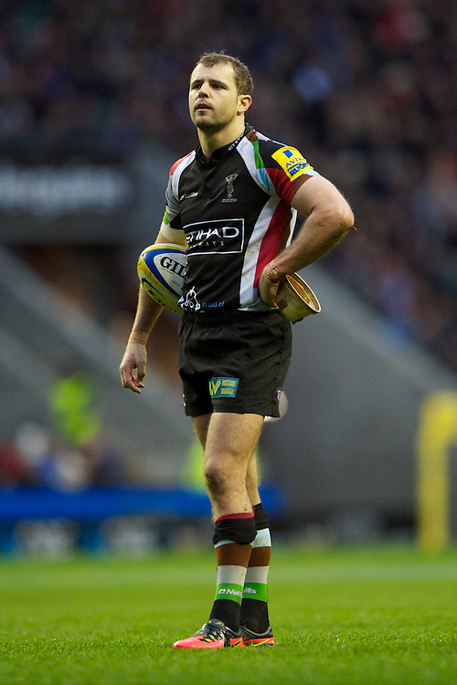 Nick Evans of Harlequins waits for the TMO's decision on the try scored by Danny Care of Harlequins during the Aviva Premiership match between Harlequins and London Irish at Twickenham on Saturday 29th December 2012 (Photo by Rob Munro)